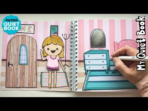 Homemade Paper DOLLHOUSE QUIET BOOK - How to draw Dollhouse & Furniture - PAPER QUIET BOOK