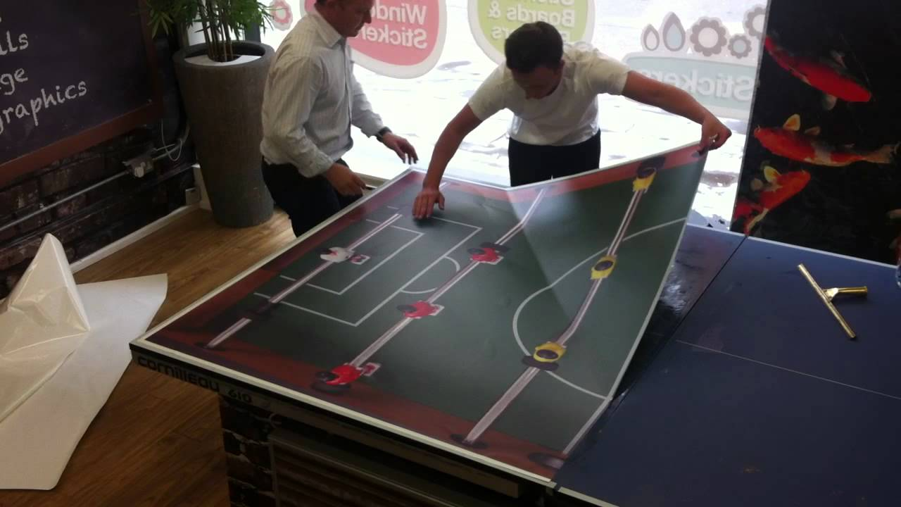 Onward Display Table Tennis Sticker Application YouTube - Custom vinyl decals for beer pong tables