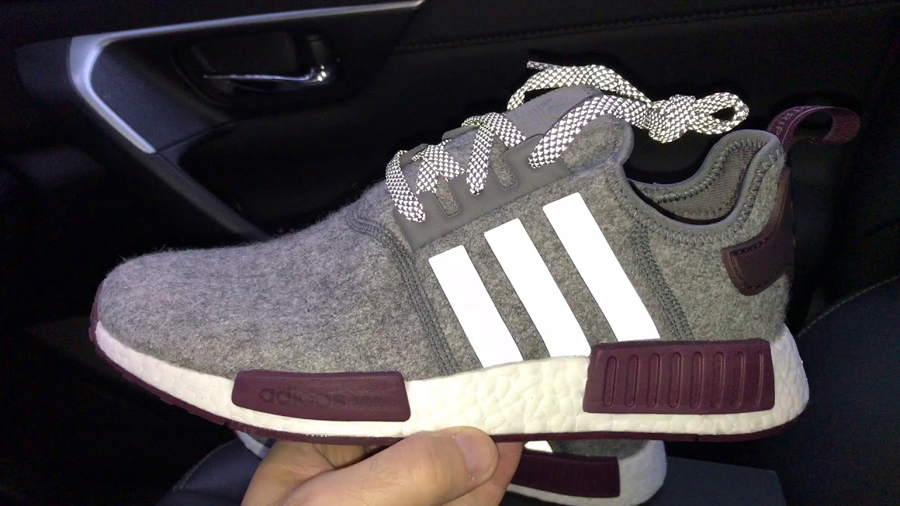 09a4be4b55a66 Adidas NMD R1 Wool Grey Maroon sneakers - YouTube