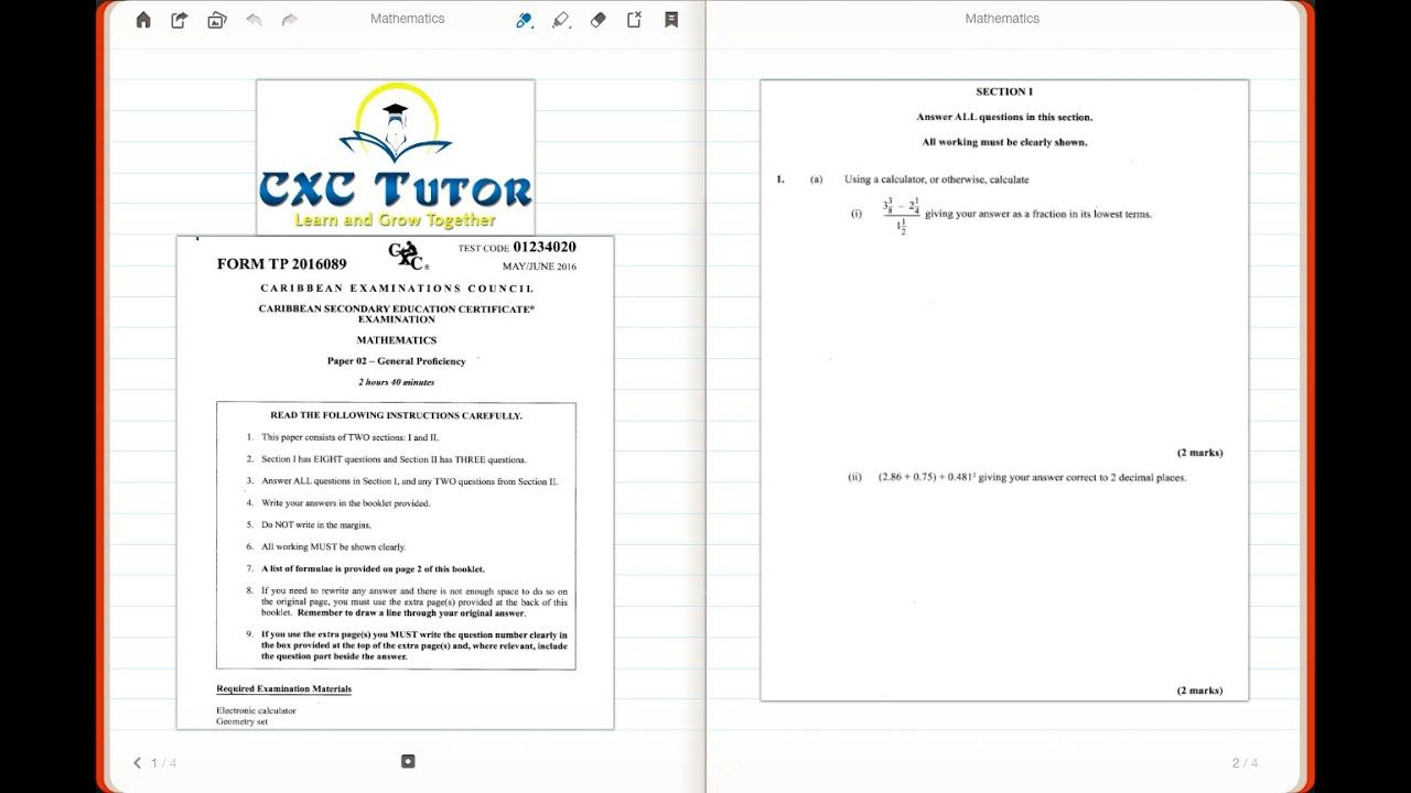 CXC Tutor Exam Solutions - May 2016 Math Paper 2 Q1 ai) & aii)