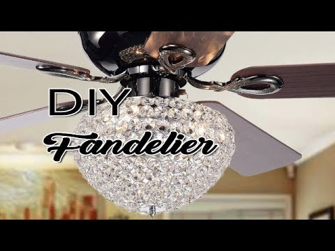 DIY Crystal Ceiling Fan Upgrade- Ceiling Fan Makeover Ideas- DIY Fandelier