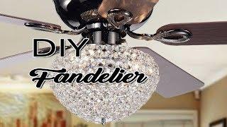 DIY Crystal Ceiling Fan Upgrade- Ceiling Fan Makeover Ideas- DIY Fandelier