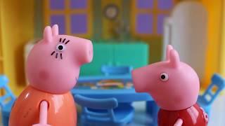 Pig George da Familia Peppa Pig come muita torta e passa Mal