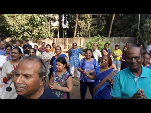 Laughter yoga session at Vrindavan Society, Thane.