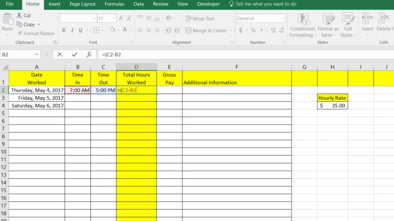 simple time sheet in excel youtube