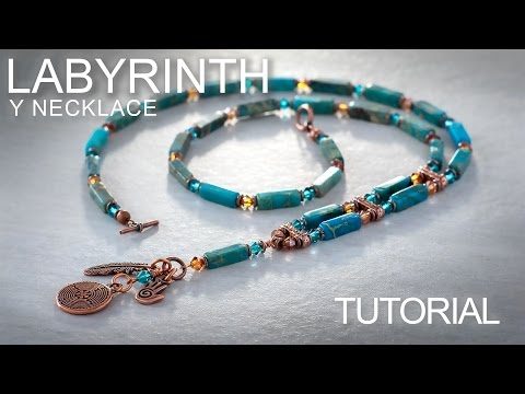 Labyrinth Y Necklace - Gemstone Beading / Jewelry Making Tutorial