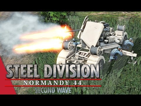 SECOND WAVE DLC! 16th Luftwaffe - Steel Division: Normandy 44 Gameplay (Odon - River, 4v4)