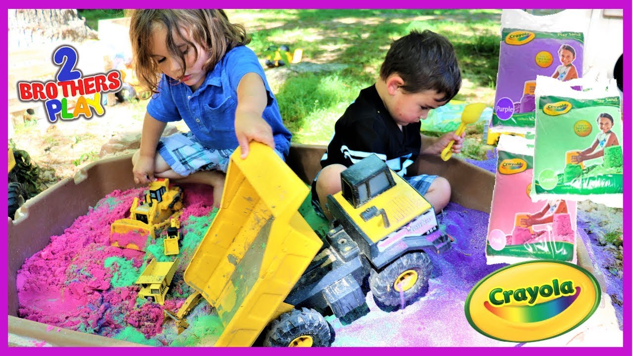 Crayola Colored Play Sand With Construction Trucks Youtube