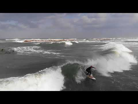 Surfing Dolphinarium Beach, Tel Aviv 22-02-2020