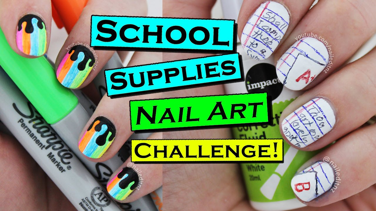 BACK TO SCHOOL Nails Using ONLY School Supplies! | Nailed It NZ ...