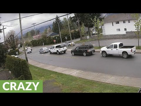 Year's worth of crazy driving caught on CCTV in BC town