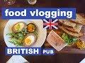 LONDON PUB FOOD VLOGGING - Best ever British pub food review on this vlog - English Sunday Roast