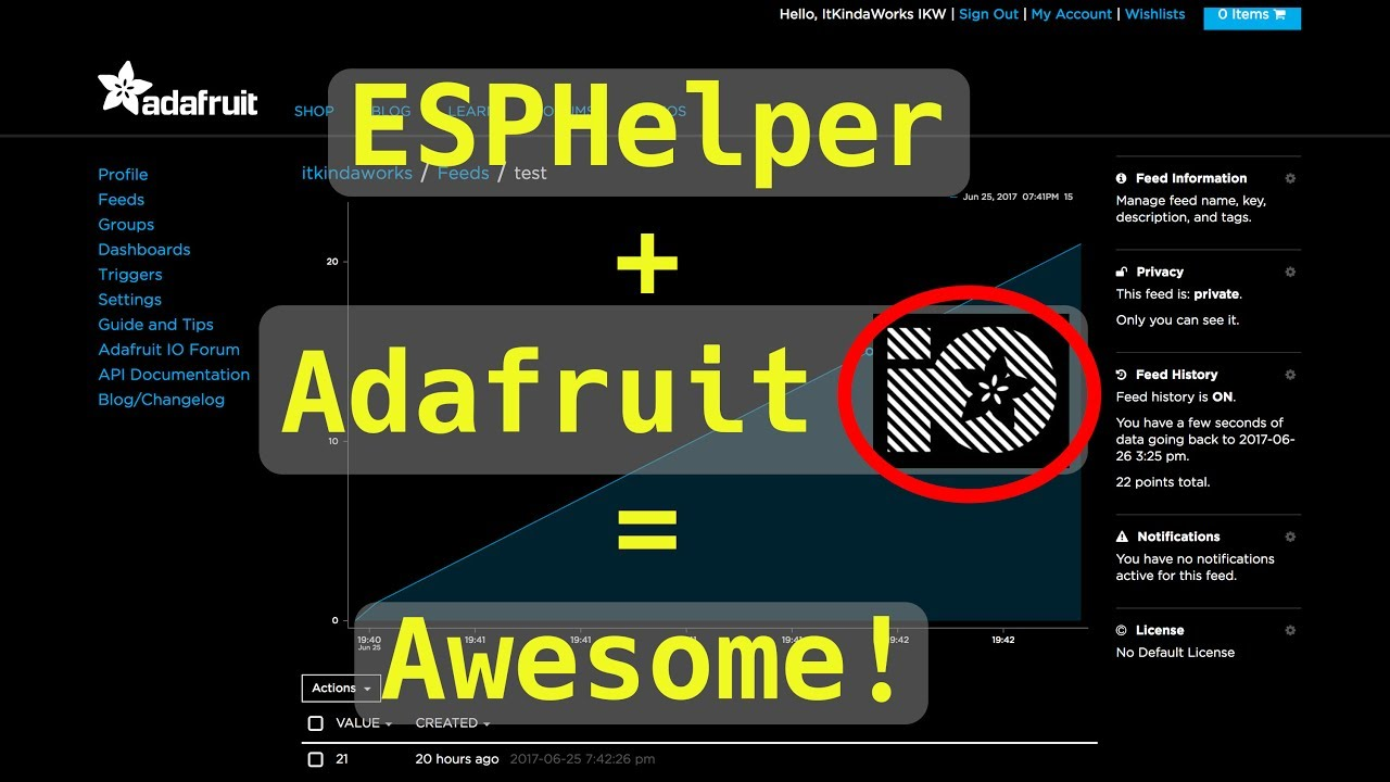 Connecting to Adafruit IO with ESPHelper