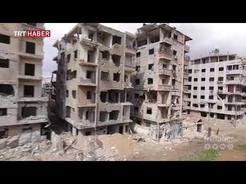 BMGK kararına rağmen Esed rejiminin saldırılarına maruz kalan Doğu Guta havadan görüntülendi.
