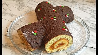 """Чудесный Торт """"Рождественское Полено"""" / Новогодний Торт / Бисквитный Рулет / Cake Christmas Log"""