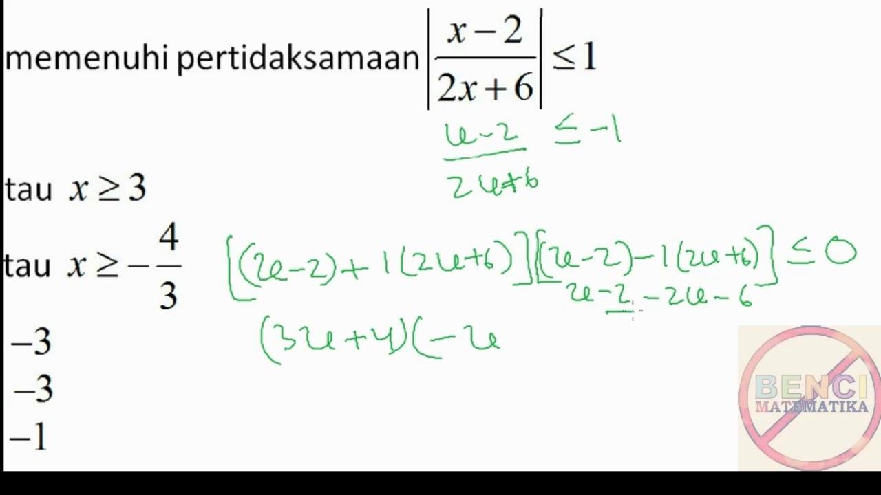 9 Contoh Soal 2 Persamaan Nilai Mutlak Youtube