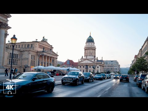 Berlin Walking Mitte, Beautiful Buildings around Gendarmenmarkt 2020 [4K] Soundscape