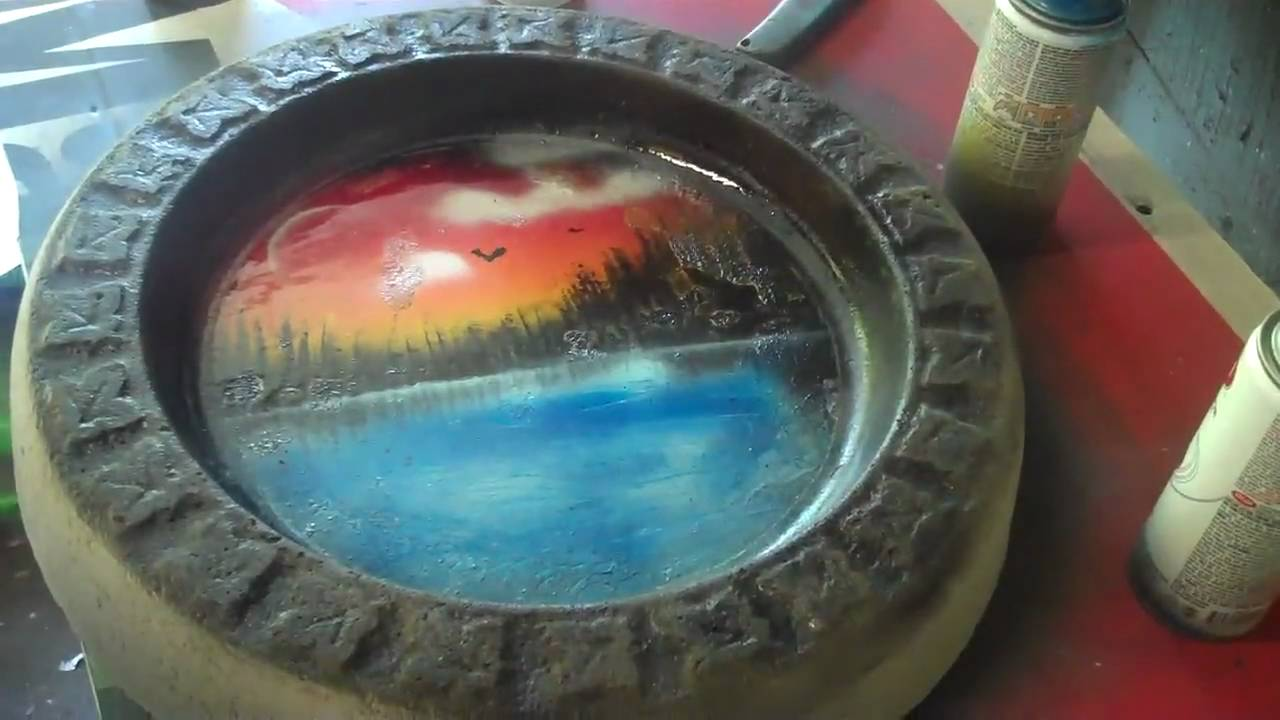 Painted Bird Bath