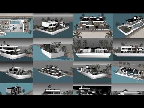 Modern houseboat builders in UAE UNITED ARAB EMIRATES Dubai building contemporary luxurious floating
