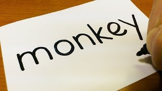 How to turn words MONKEY into a Cartoon for kids - How to draw doodle art on paper
