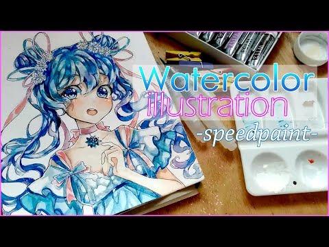 Watercolor Timelapse Anime girl - speedpaint
