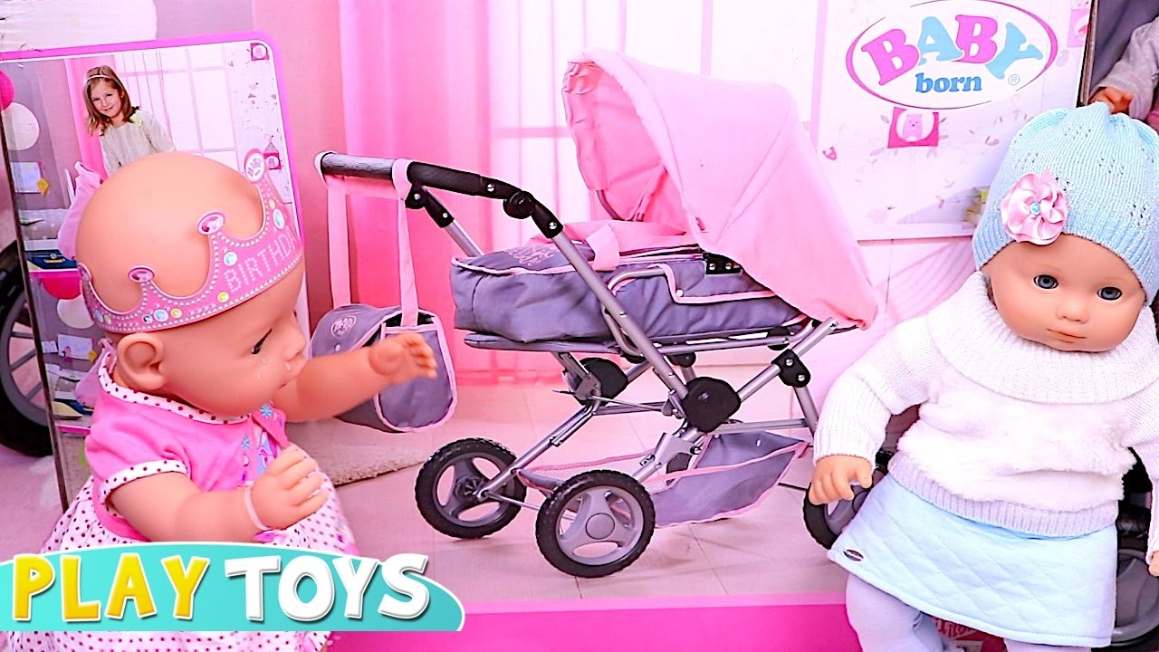Baby Dolls Playing Youtube Baby Born Stroller 🎀 Playing Baby Dolls And Push Chair
