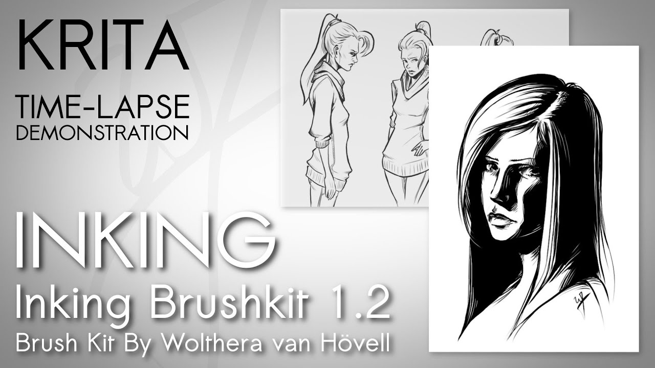 Krita Time Lapse Demonstration   Inking with Wolthera van Hovell's Inking  Brush Kit 1 2