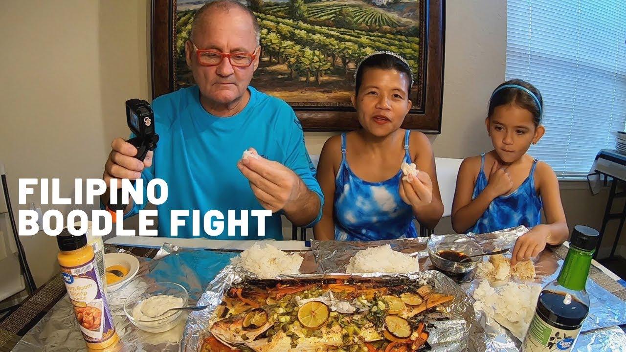 FILIPINO BOODLE FIGHT MUKBANG & GIANT WHOLE SNAPPER RECIPE