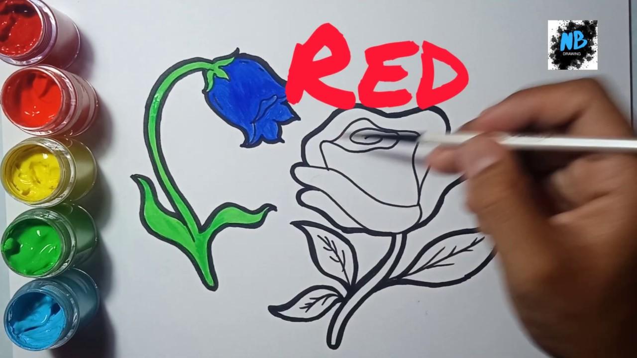 Menggambar dan mewarnai bunga (MUDAH) | Draw and color a ...