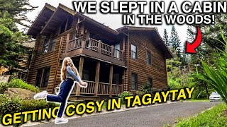 Our LOG CABIN in TAGAYTAY! Cold Weather Vacation in Philippines?! (Feels Like Canada)