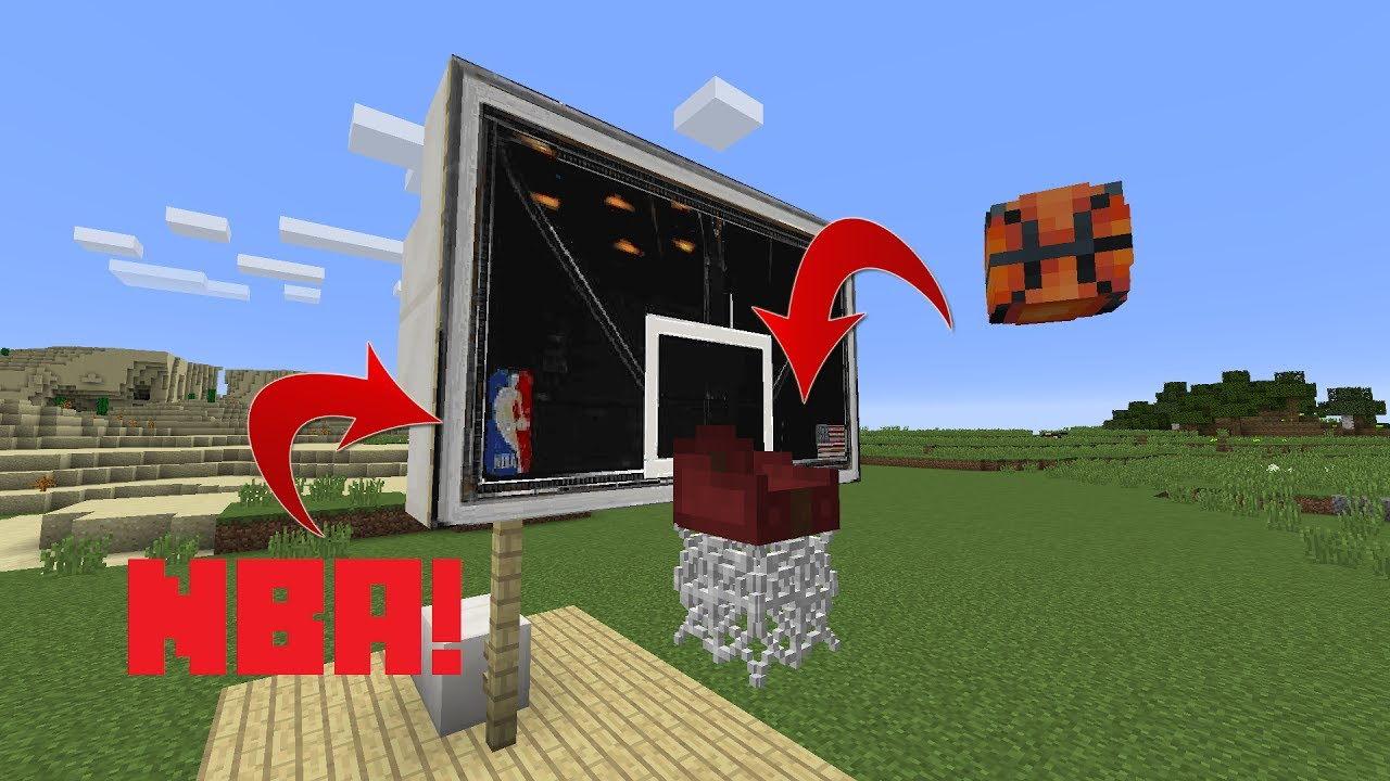 Minecraft how to make a nba basketball backboard for How to build a basketball goal