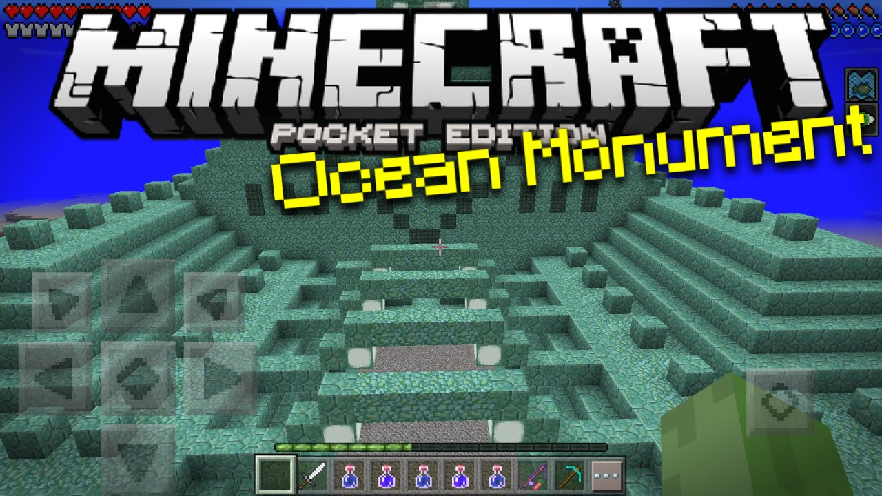 Ocean Monument in Minecraft PE - MCPE Sea Temple Map Concept (Pocket  Edition)