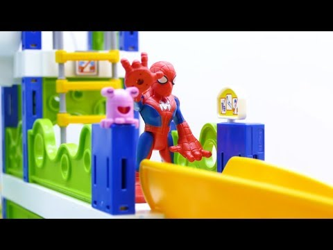 Toys Play Time T-rex Attack Sliding Spiderman Water Park with Iron Man Toy Story Action Movie 2018