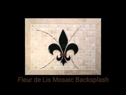 Fleur de Lis Mosaic Kitchen Backsplash - Travertine, Glass Accents, and Resin