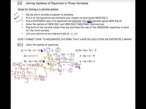 3-6 Solving Systems of Equations in 3 Variables - YouTube