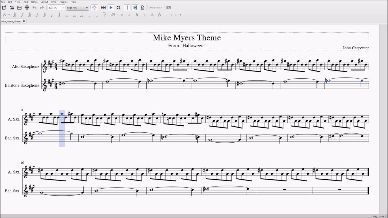 mike myers/halloween theme alto/bari sax sheet music - youtube