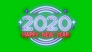 neon happy new year 2020 green screen effects animation