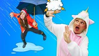 Смешные видео онлайн - Единорожка и Акула играют под дождём! - Новые игры для девочек.