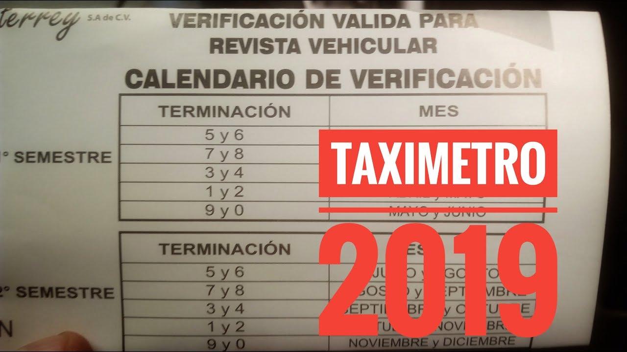 Calendario De Verificacion Fisico Mecanica 2019.Nuevocalendario Verificacion De Taximetros 2019