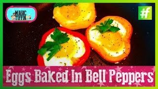 #fame food - How To Make Easter Bells (Eggs Baked in Bell Peppers)
