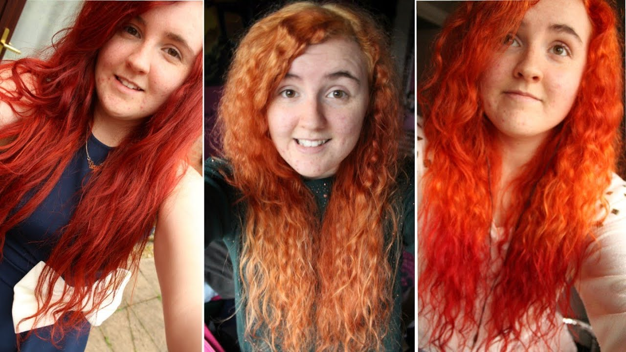 How To Orange Amp Red Ombre Hair From Red Youtube