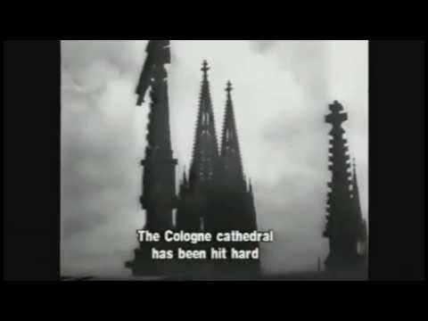 British terror bombing - Cathedral of Cologne hit by seventy bombs