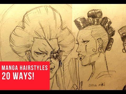 20 Ways Drawing Female Manga Comic Hairstyles Youtube