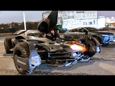 ТЕСТ: Бэтмобиль! 55 МЛН! СТРЕЛЬБА В МОСКВЕ и гонки по городу! ВСЕ В ШОКЕ! Обзор. BATMOBILE in Moscow