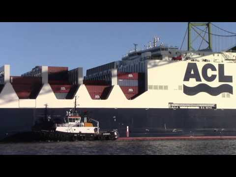 ACL G4 Con-Ro Ship ATLANTIC STAR Maiden Voyage into Halifax, NS, Canada (Jan 6, 2016)