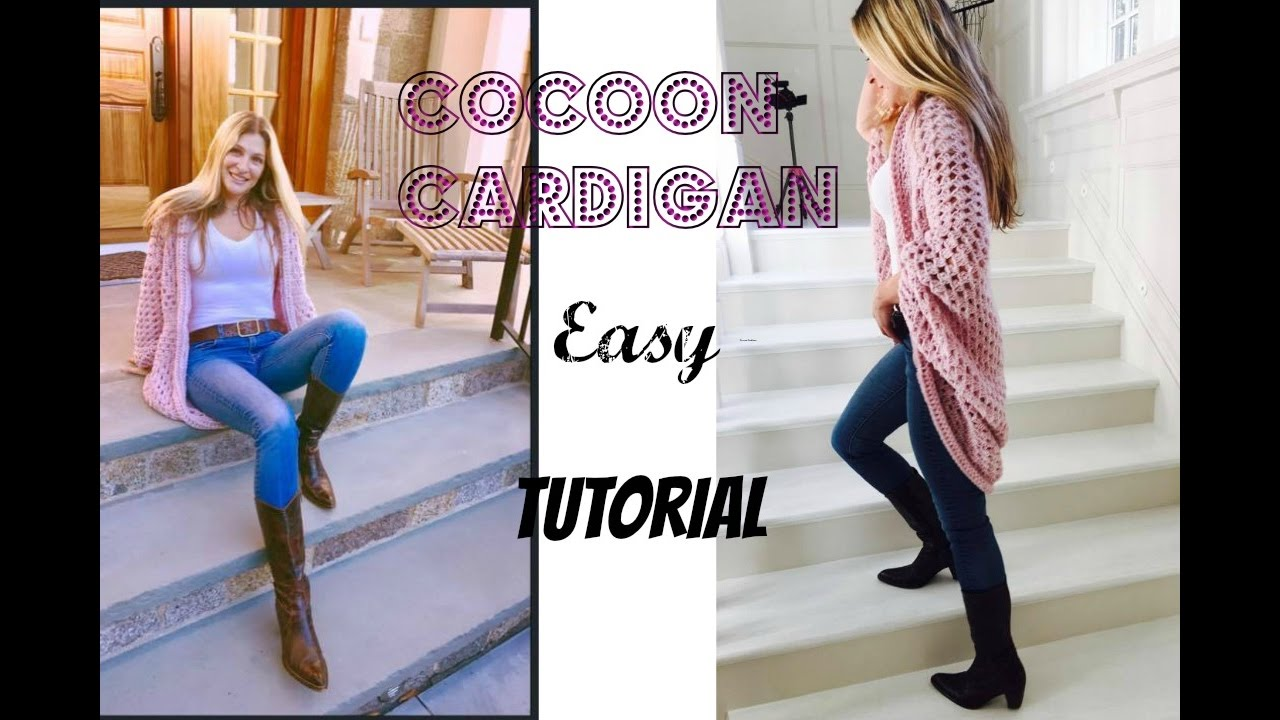 b01679ca543 Easy Crochet Cocoon Cardigan Tutorial - YouTube