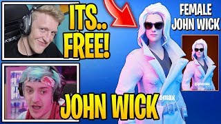 "Streamers React To *NEW* FREE ""FEMALE JOHN WICK"" SKIN in Fortnite!"