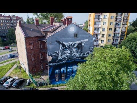 Murale Bielsko-Biała z lotu ptaka - Nad dachami