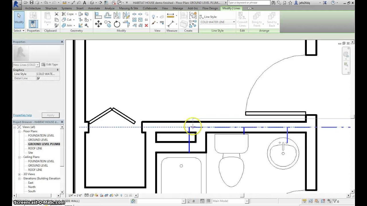 Creating A Plumbing Plan On Revit For Habitat For Humanity Cea Pltw Project