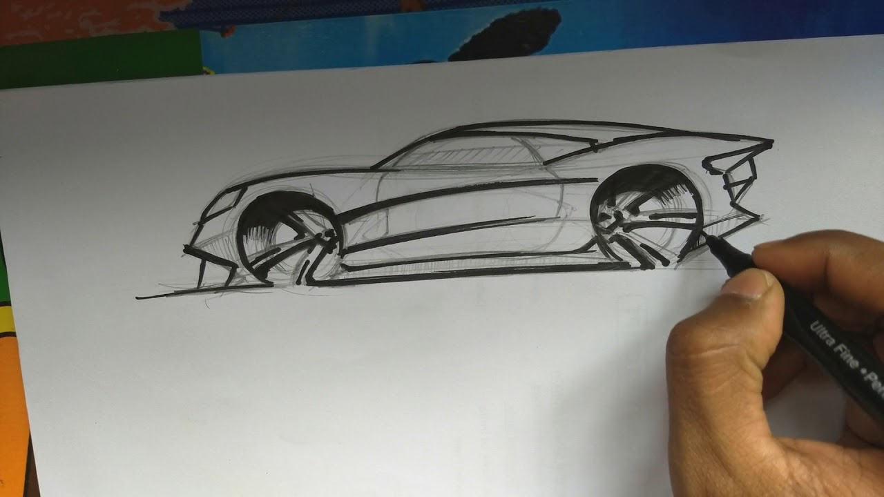 Easy Simple Side View Drawing Of Super Car